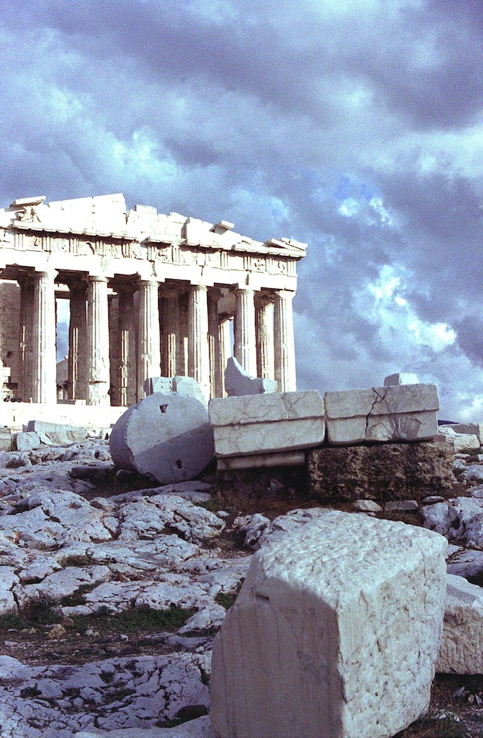 Parthenon storm clouds